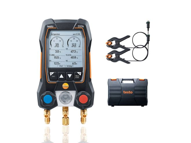 testo 550s Alap szett - okos digitális szervizcsaptelep rögzített kábeles hőmérséklet érzékelőkkel